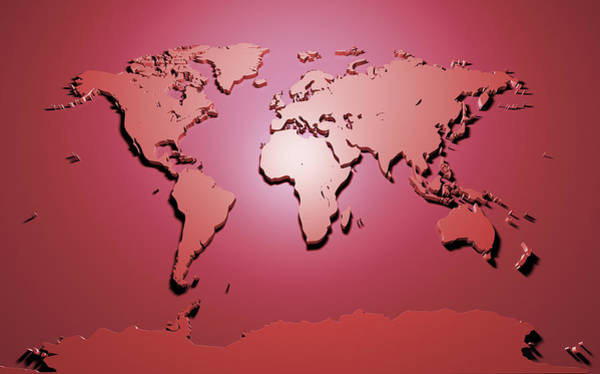Atlas Digital Art - World Map In Red by Michael Tompsett
