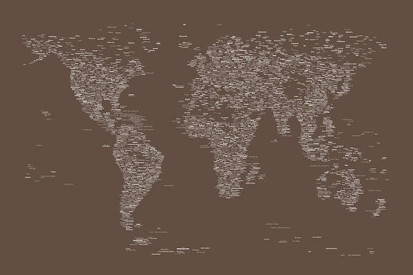 Typographic Wall Art - Digital Art - World Map Of Cities by Michael Tompsett