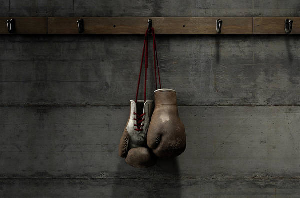 Wall Art - Digital Art - Worn Vintage Boxing Gloves Hanging In Change Room by Allan Swart