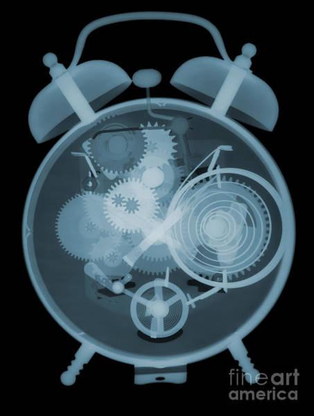 Photograph - X-ray Of An Alarm Clock by Ted Kinsman