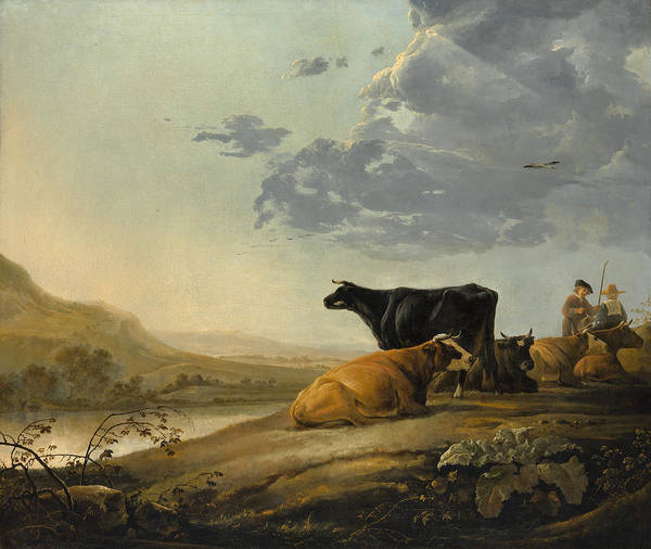 Cuyp Wall Art - Painting - Young Herdsmen With Cows by Aelbert Cuyp