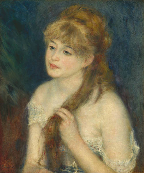 Painting - Young Woman Braiding Her Hair by Auguste Renoir