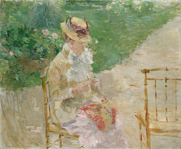 Painting - Young Woman Knitting by Berthe Morisot