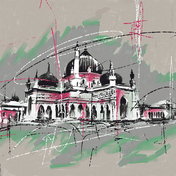 Mosque Painting - Zahir Mosque, Malaysia by Mawra Tahreem