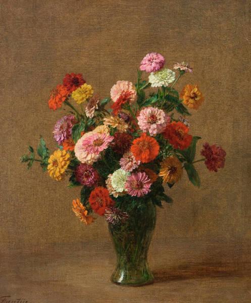 Zinnia Flower Wall Art - Painting - Zinnias by Henri Fantin-Latour