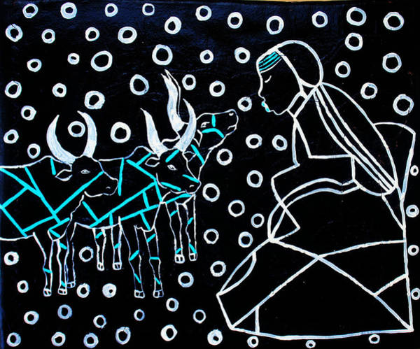 Painting - Nuer Bride - South Sudan by Gloria Ssali