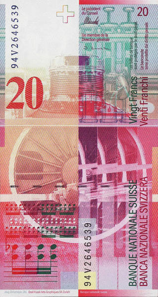 Digital Art - 20 Swiss Franc Bill by Serge Averbukh