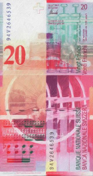 Digital Art - 20 Swiss Franc Pop Art Bill by Serge Averbukh