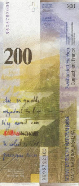 Digital Art - 200 Swiss Franc Pop Art Bill by Serge Averbukh