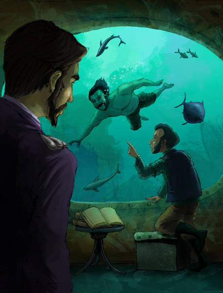 Jules Verne Digital Art - 20000 Leagues Under The Sea by Andy Catling