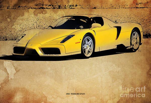 Garage Decor Mixed Media - 2002  Ferrari Enzo by Drawspots Illustrations