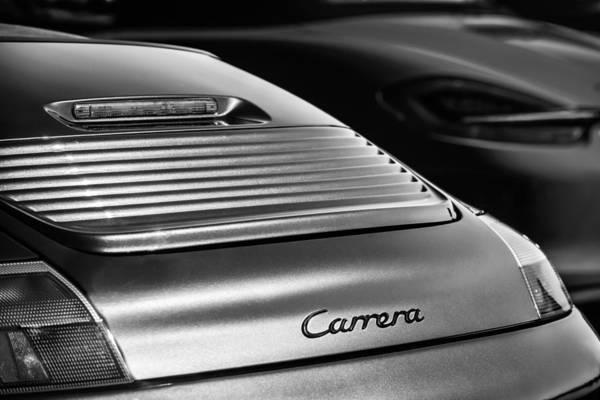 Photograph - 2003 Porsche 911 Carrera Taillight Emblem -2089bw by Jill Reger