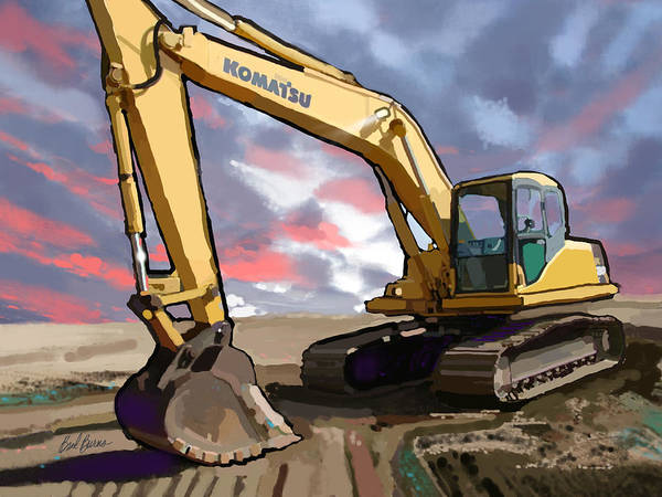 Trench Wall Art - Painting - 2004 Komatsu Pc200lc-7 Track Excavator by Brad Burns
