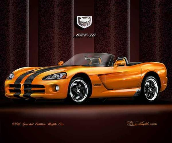 Car Drawings Mixed Media - 2005 Dodge Viper Vca Raffle Edition by Danny Whitfield