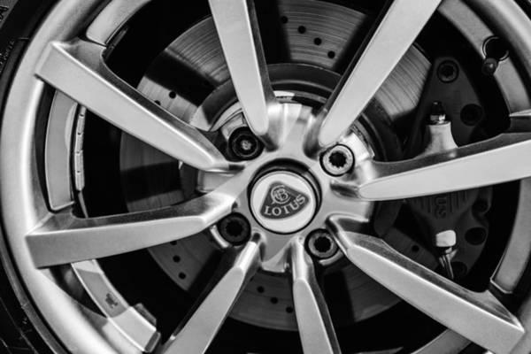 Photograph - 2005 Lotus Elise Wheel Emblem -0079bw by Jill Reger