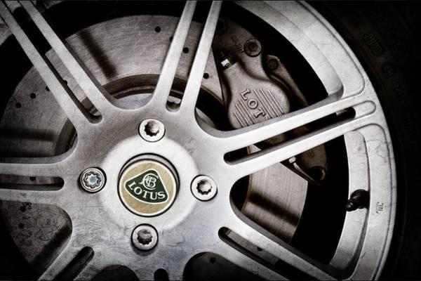 Wall Art - Photograph - 2005 Lotus Elise Wheel Emblem -1679ac by Jill Reger