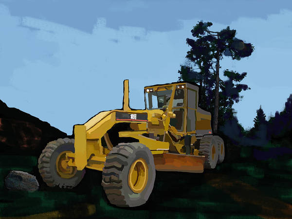 Cement Wall Art - Painting - 2006 Caterpillar 12h Vhp Plus Motor Grader by Brad Burns