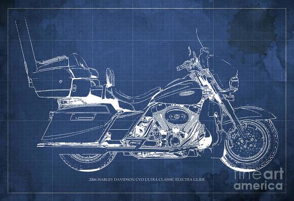 Chs Digital Art - 2006 Harley Davidson Cvo Ultra Classic Electra Glide Blueprint Blue Background by Drawspots Illustrations