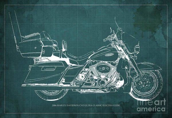 Chs Digital Art - 2006 Harley Davidson Cvo Ultra Classic Electra Glide Blueprint Green Background by Drawspots Illustrations