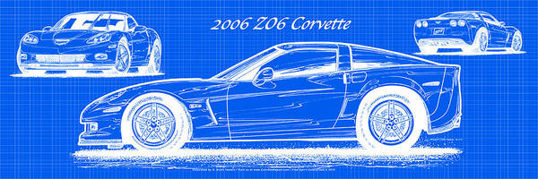 Digital Art - 2006 Z06 Corvette Blueprint Series by K Scott Teeters