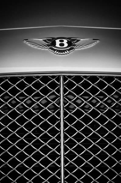 Wall Art - Photograph - 2007 Bentley Continental Gtc Convertible Emblem -2435bw by Jill Reger