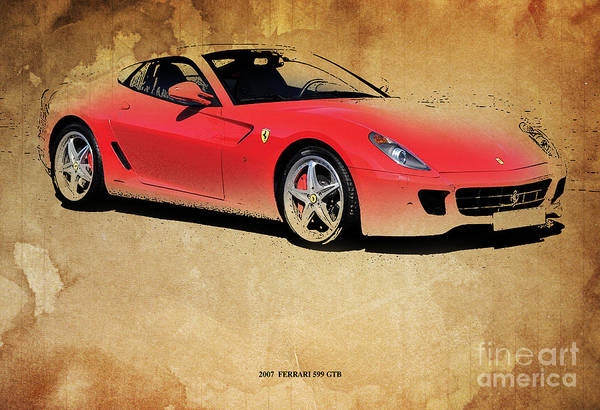 Garage Decor Mixed Media - 2007  Ferrari 599 Gtb by Drawspots Illustrations