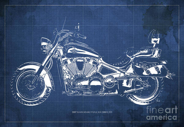 Vulcan Wall Art - Digital Art - 2007 Kawasaki Vulcan 2000 Ltd Blueprint Blue Background Classic Motorcycle by Drawspots Illustrations