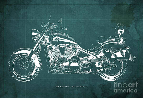 Vulcan Wall Art - Digital Art - 2007 Kawasaki Vulcan 2000 Ltd Blueprint Green Background Classic Motorcycle by Drawspots Illustrations