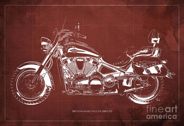 Vulcan Wall Art - Digital Art - 2007 Kawasaki Vulcan 2000 Ltd Blueprint Red Background Classic Motorcycle by Drawspots Illustrations