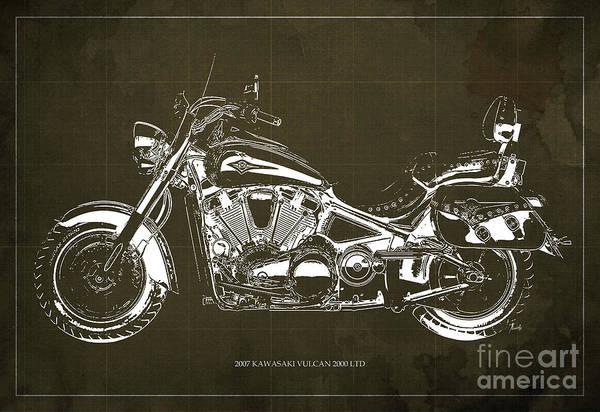 Vulcan Wall Art - Digital Art - 2007 Kawasaki Vulcan 2000 Ltd Blueprint,art Print Larger Sizes, Motorcycle, Gift For Man by Drawspots Illustrations