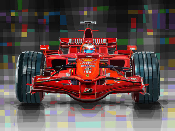 Ferrari Wall Art - Digital Art - 2008 Ferrari F1 Racing Car Kimi Raikkonen by Yuriy Shevchuk