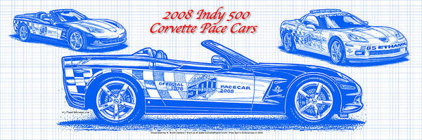 Drawing - 2008 Indy 500 Corvette Pace Car Blueprint Series by K Scott Teeters