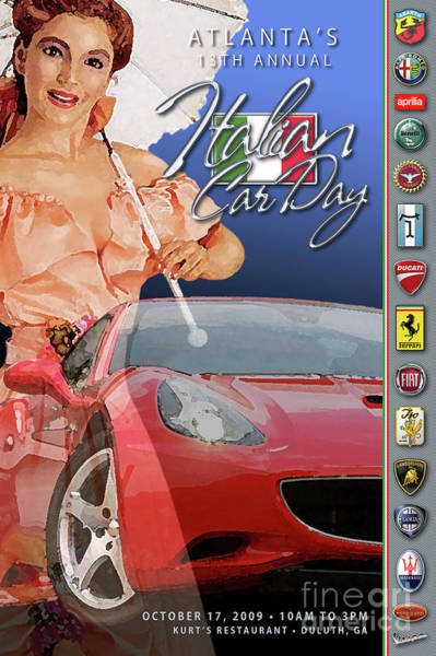 2009 Atlanta Italian Car Day Postcard Art Print