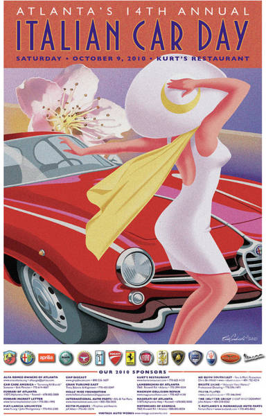 2010 Atlanta Italian Car Day Poster Art Print