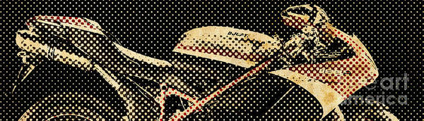 Wall Art - Painting - 2010 Ducati 1198r Corse Giant Newspaper Dots by Drawspots Illustrations
