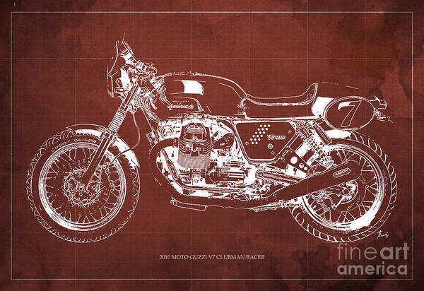 Moto Blueprint Wall Art - Painting - 2010 Moto Guzzi V7 Clubman Racer Blueprint Red Background by Drawspots Illustrations