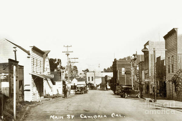 Photograph - 2011-007-0010 Main Street Cambria San Luis Obispo County Circa 1930 by California Views Archives Mr Pat Hathaway Archives