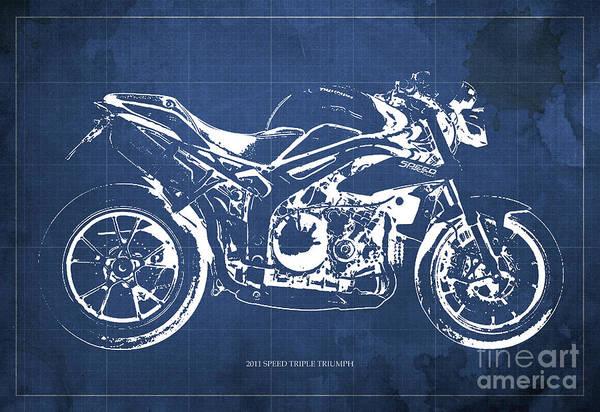 Wall Art - Digital Art - 2011 Speed Triple Triumph Motorcycle Blueprint Blue Background Artwork Christmas Gift For Men by Drawspots Illustrations