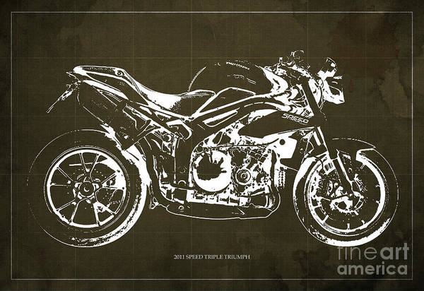 Wall Art - Digital Art - 2011 Speed Triple Triumph Motorcycle Blueprint Brown Background Artwork Christmas Gift For Men by Drawspots Illustrations