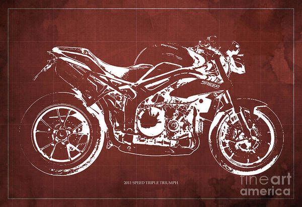 Wall Art - Digital Art - 2011 Speed Triple Triumph Motorcycle Blueprint Red Background Artwork Christmas Gift For Men by Drawspots Illustrations