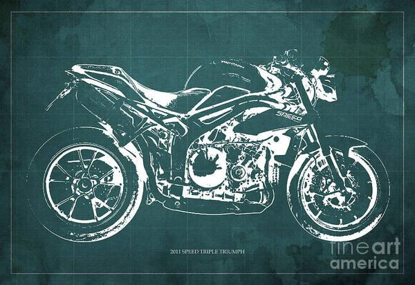 Wall Art - Digital Art - 2011 Speed Triple Triumph Motorcycle Blueprint,green Background Artwork,christmas Gift For Men by Drawspots Illustrations