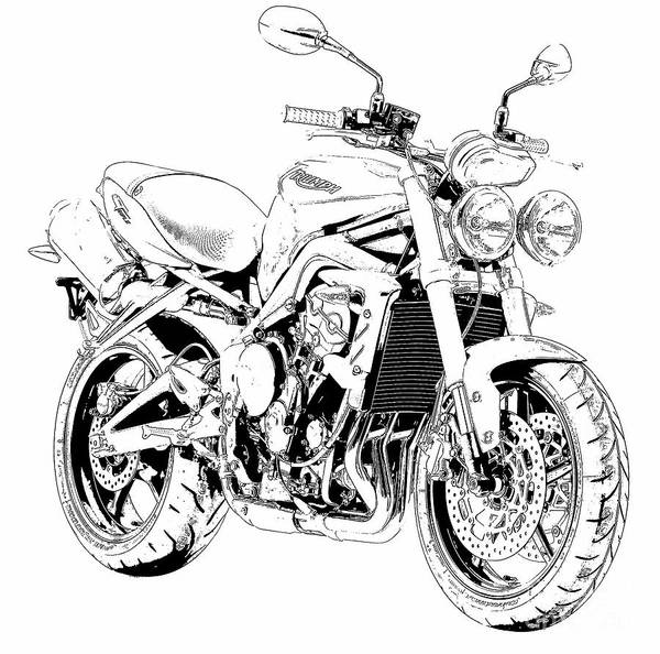 Wall Art - Drawing - 2011 Triumph Street Triple, Black And White Motorcycle by Drawspots Illustrations