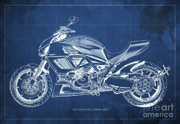 Carbon Wall Art - Painting - 2012 Ducati Diavel Carbon Motorcycle Blueprint - Blue Background by Drawspots Illustrations