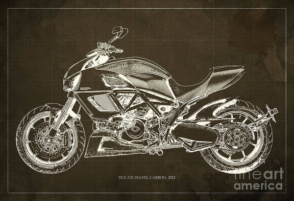 Carbon Wall Art - Digital Art - 2012 Ducati Diavel Carbon Motorcycle Blueprint - Brown Background by Drawspots Illustrations