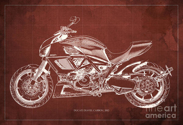 Carbon Wall Art - Painting - 2012 Ducati Diavel Carbon Motorcycle Blueprint - Red Background by Drawspots Illustrations