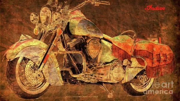 Wall Art - Digital Art - 2012 Indian Chief Vintage, Golden Artwork, Gift For Bikers by Drawspots Illustrations