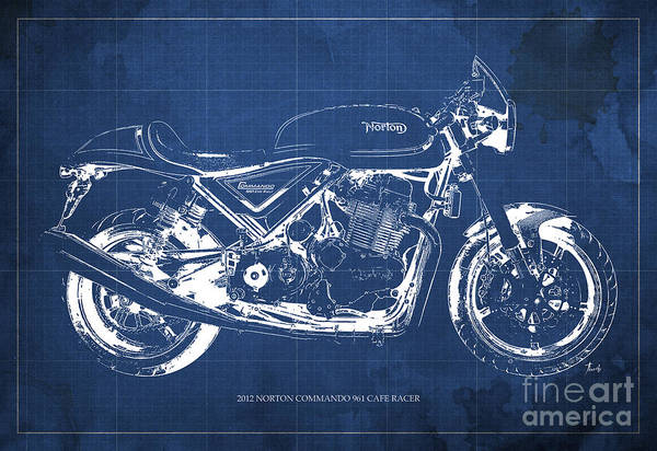Racer Painting - 2012 Norton Commando 961 Cafe Racer Motorcycle Blueprint - Blue Background by Drawspots Illustrations