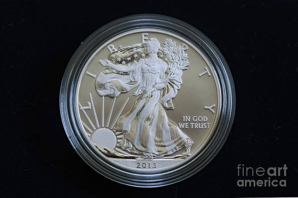 In God We Trust Photograph - 2013 Enhanced Uncirculated Silver Eagle Dollar Coin by Randy Steele