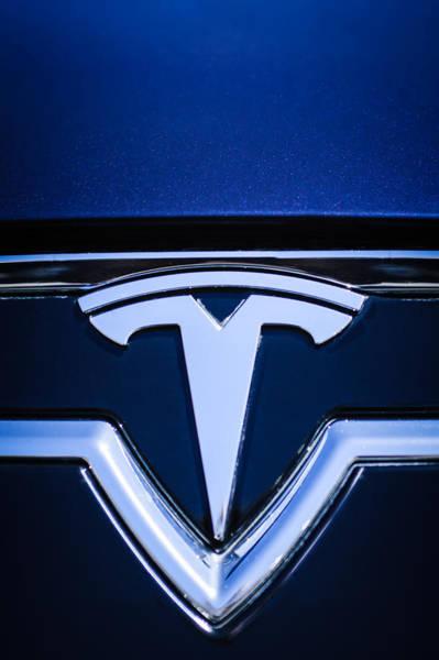 Photograph - 2013 Tesla Model S Emblem -0122c2 by Jill Reger