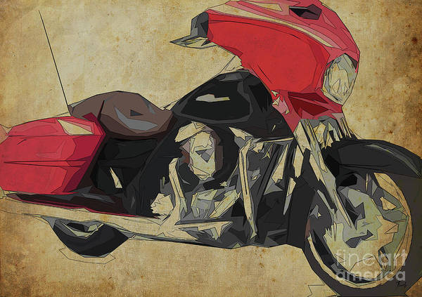 Wall Art - Digital Art - 2014 Harley Motorcycle Abstract Art For Bikers by Drawspots Illustrations
